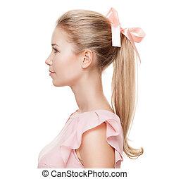piękny, blondynka, woman., fason, portrait.