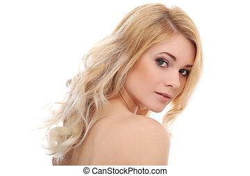 piękny, blondynka, z, kędzierzawy włos