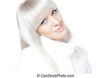 piękny, blondynka, zima
