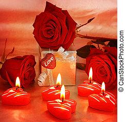 piękny, boks, dar, serce, &, róże
