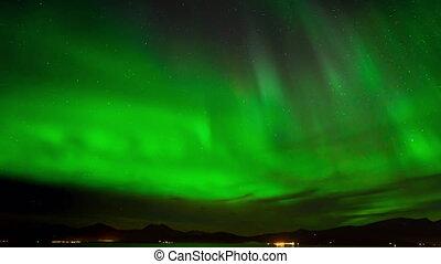 piękny, borealis, północny, polarny, lekki, jutrzenka, timelapse, niebo, zdumiewający, zielony, noc, albo