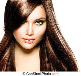piękny, brązowy, brunetka, zdrowy, kudły, girl.