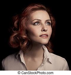 piękny, brązowy, kobieta, kudły, portrait.