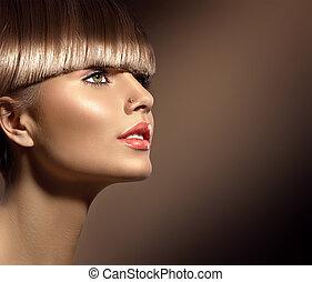 piękny, brązowy, kobieta, piękno, zdrowy, makijaż, gładki, włosy