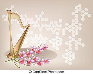 piękny, brązowy, storczyk, tło, harfa