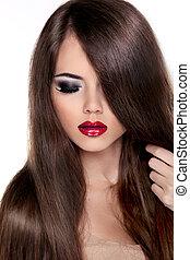 piękny, brunetka, dziewczyna, z, zdrowy, kudły, i, czerwony, lips., fason modelują, kobieta, dotykanie, jej, długi, i, zdrowy, brązowy, hair., odizolowany, na białym, tło.
