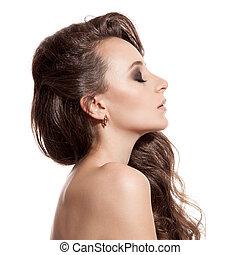 piękny, brunetka, girl., zdrowy, długi, hair., białe tło