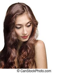 piękny, brunetka, girl., zdrowy, kudły