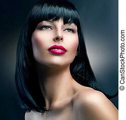 piękny, brunetka, hairstyle., fason, portrait., wzór, dziewczyna