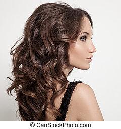 piękny, brunetka, kędzierzawy, długi, hair., woman.