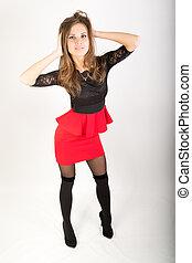 piękny, brunetka, krótki, pończochy, sexy, dziewczyna, poła, czerwony