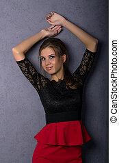 piękny, brunetka, krótki, sexy, dziewczyna, poła, czerwony