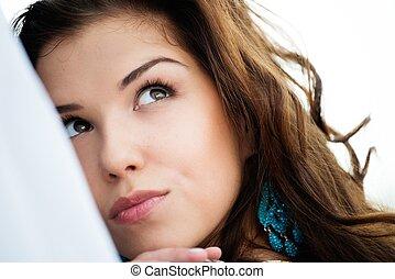 piękny, brunetka, kudły, portret, dziewczyna