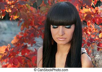 piękny, brunetka, natura, zdrowy, kudły, girl., tło, hair.