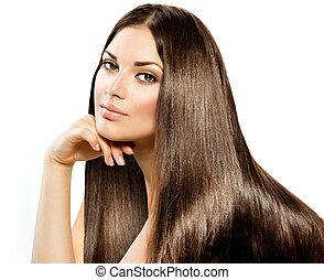 piękny, brunetka, prosty, odizolowany, długi, hair., dziewczyna, biały