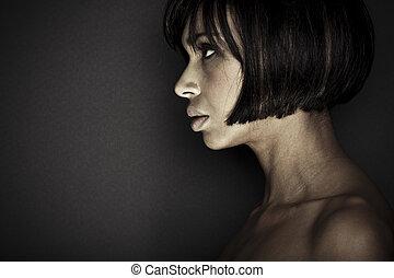 piękny, brunetka, strzał, młody, studio, dziewczyna