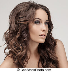 piękny, brunetka, woman., kędzierzawy, długi, hair.