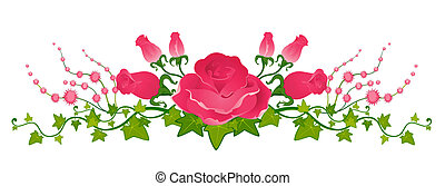 piękny, bukiet, róże