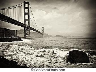 piękny, b&w, brama złotego most, w, san francisco