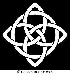 piękny, celtycki, 4, węzeł, kropka