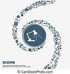 piękny, center., korzystać, dookoła, ikona, spiral., dużo, kręcił, znak, symbolika, wektor, może, każdy, separately, ty, reading-lamp, twój, design.
