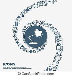 piękny, center., korzystać, dookoła, spiral., dużo, kręcił, symbolika, lampa, wektor, może, każdy, separately, stół, ty, ikona, twój, design.