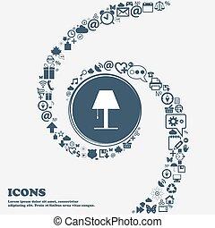piękny, center., korzystać, dookoła, spiral., dużo, kręcił, znak, symbolika, lampa, wektor, może, każdy, separately, ty, ikona, twój, design.
