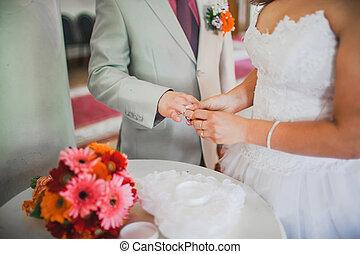 piękny, ceremonia, ślub
