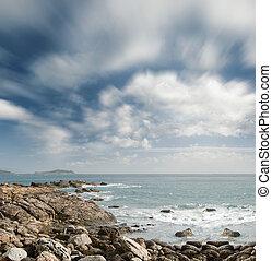piękny, chmury, ocean