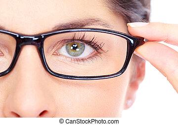 piękny, chodząc, kobieta, młody, portrait., okulary