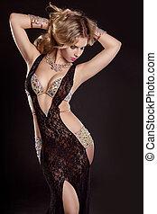 piękny, chodząc, kobieta, na, szczupły, długi, luksusowy,...