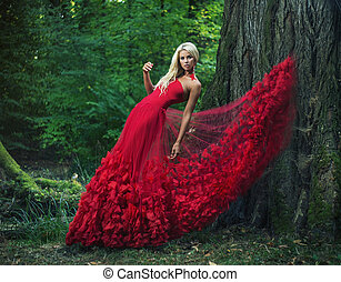 piękny, chodząc, kobieta, suknia, zdumiewający, czerwony