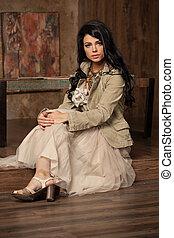 piękny, chodząc, kobieta, szykowny, blogger, jacket., przybory, makeup., modny, fason, brunetka, sexy, wear., portrait., wzór, dziewczyna, doskonały