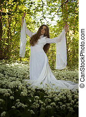 piękny, chodząc, kobieta taniec, długi, las, biały strój