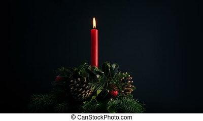 piękny, chwilowy, wieniec, świąteczny