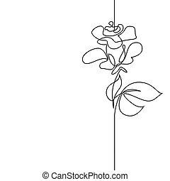 piękny, ciągły, kwiat, kreskówka