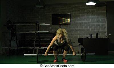 piękny, ciężki, powolny, sporty, ciężar, ruch, gym., podwiezienia, dziewczyna