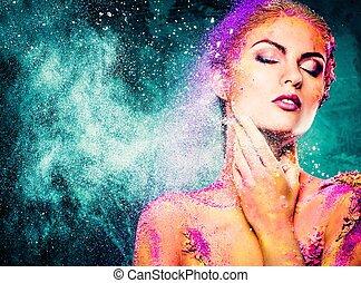 piękny, ciało, kobieta, sztuka, młody, konceptualny, barwny