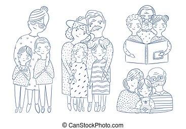 piękny, ciało, pełny, wnuk, grandchildren., portrety, wnuczka, waist-up, ręka, babcia, characters., lines., dziadkowie, pociągnięty, rysunek, dziadek, kontur, kochający