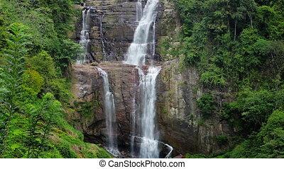 piękny, cielna, wodospad