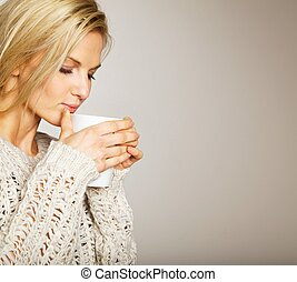 piękny, cieszący się, coffee's, kobieta, aromat