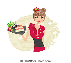 piękny, cieszyć się, dziewczyna, sushi, asian