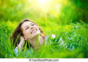 piękny, cieszyć się, kobieta, natura, młody, outdoors.