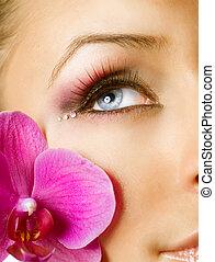 piękny, closeup, makeup., twarz