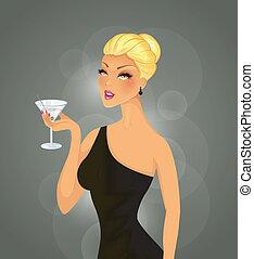 piękny, cocktail, kobieta