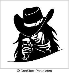 piękny, cowgirl, kobieta, szkło