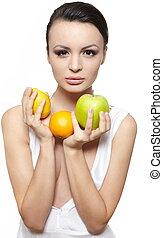 piękny, cytryna, jabłko, odizolowany, blask, zielony, owoce, pomarańcza, portret, dziewczyna, biały