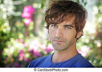 piękny, człowiek, młody, outdoors