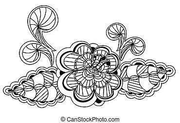 piękny, czarnoskóry i biały, kwiatowy wzór, zaprojektujcie element