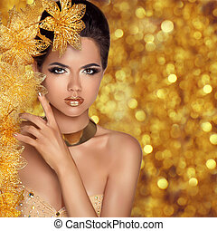 piękny, czarowny, fason, piękno, młody, wi, kobieta, portrait., dziewczyna
